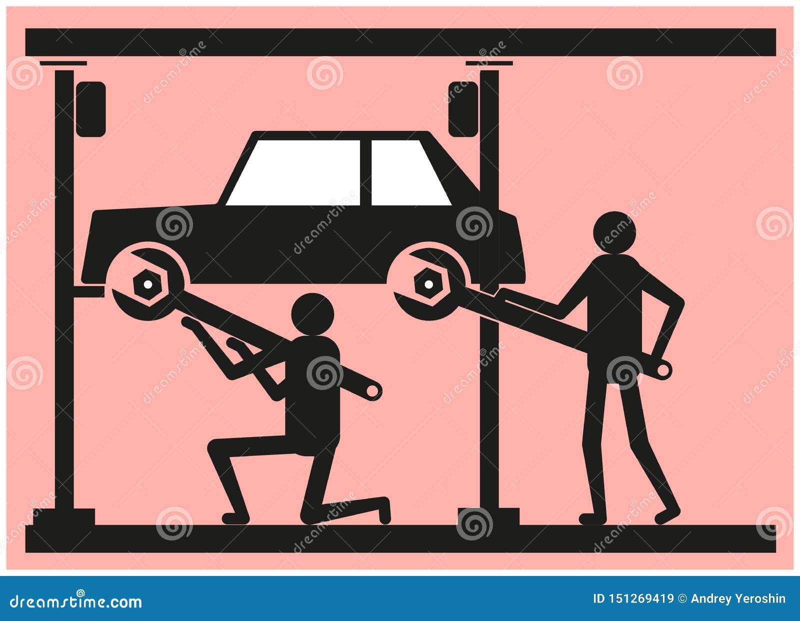 Dois pessoas reparam o carro na estação do serviço