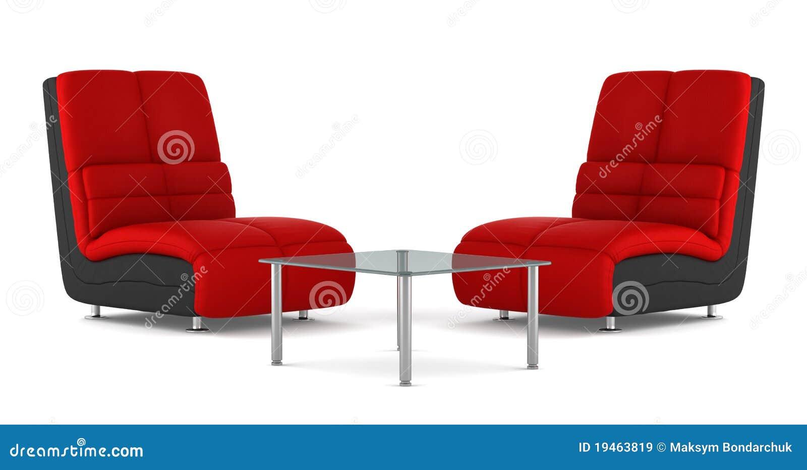 Dois pretos e poltronas de couro modernas vermelhas for Poltronas modernas