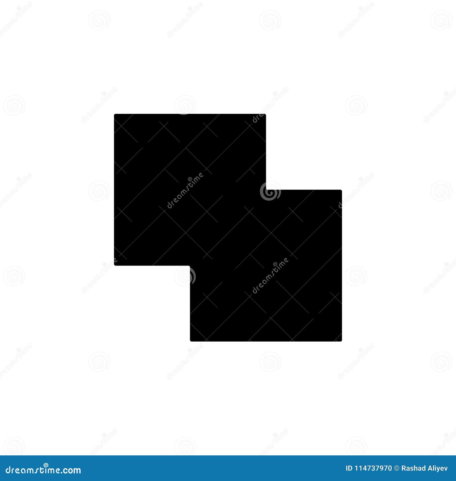 Dois quadrados do ícone de cruzamento Elemento do ícone minimalistic para apps móveis do conceito e da Web Sinais e ícone da cole