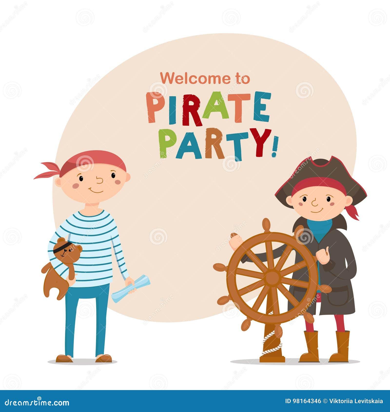 Dois Rapazes Pequenos Vestidos Como Marinheiros Piratas Com