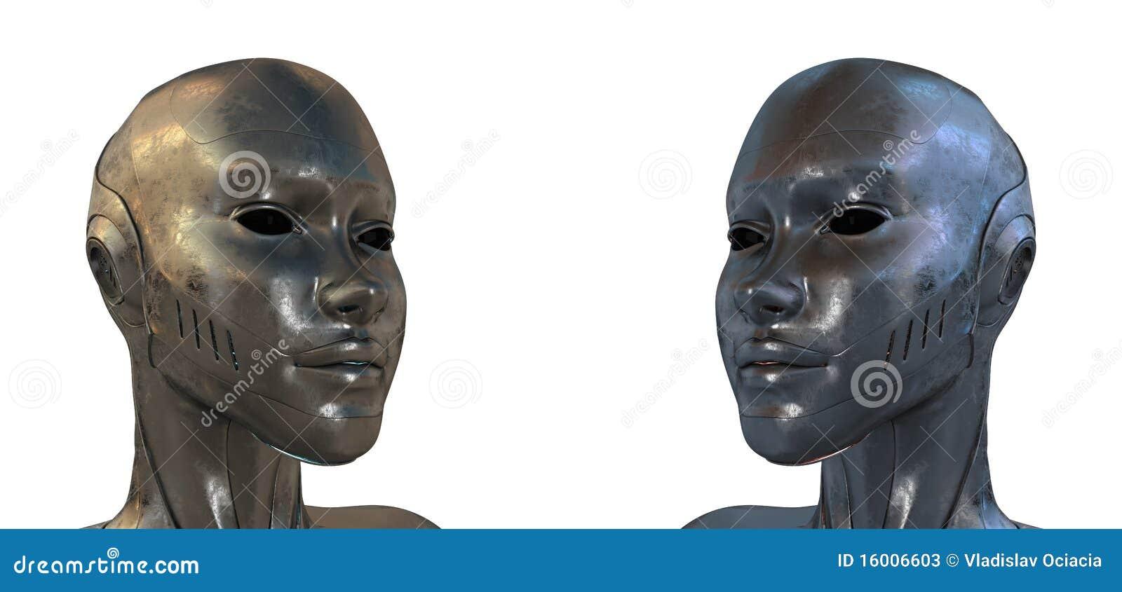 Dois robôs de aço iguais no perfil