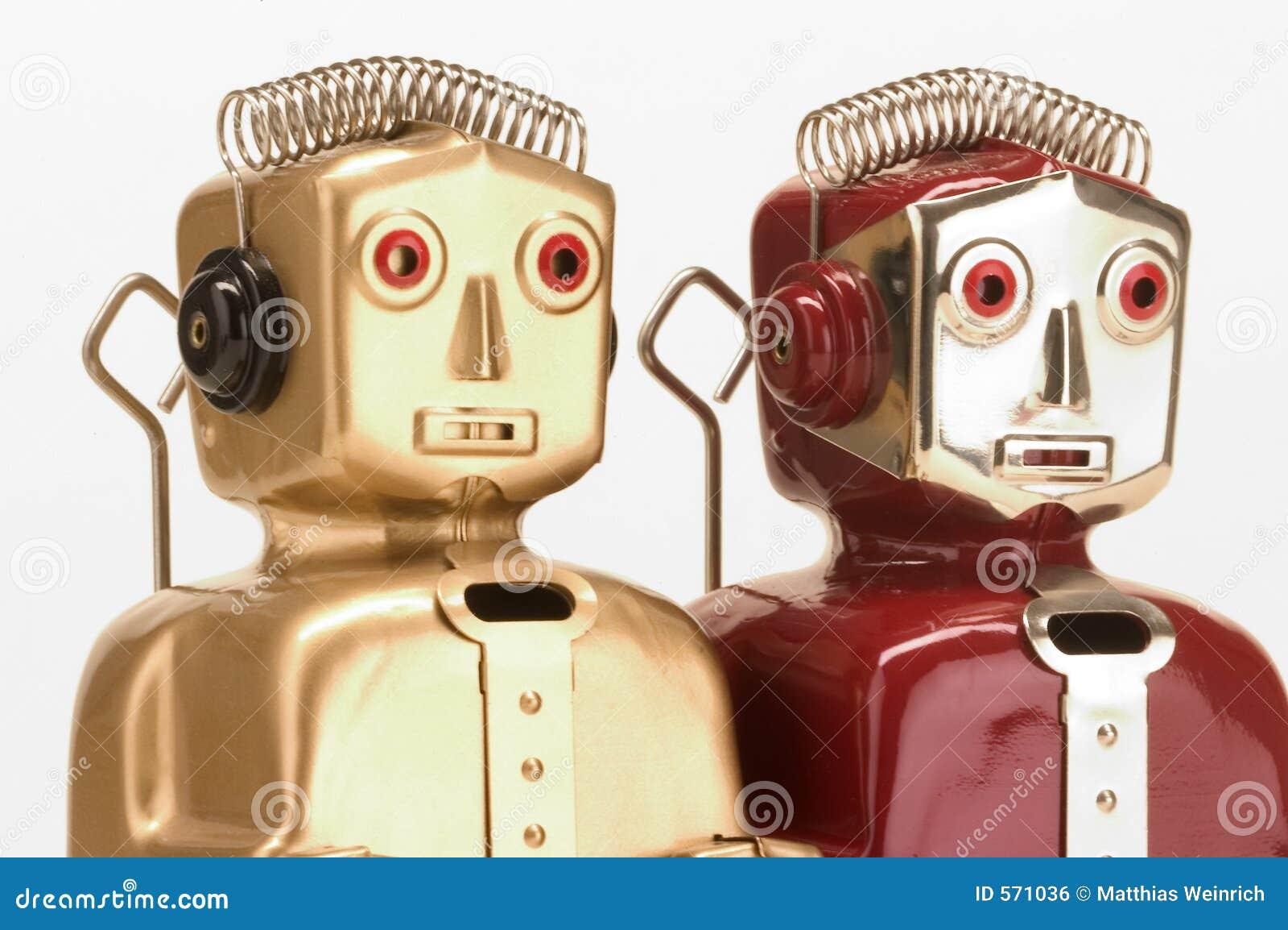 Dois robôs do brinquedo