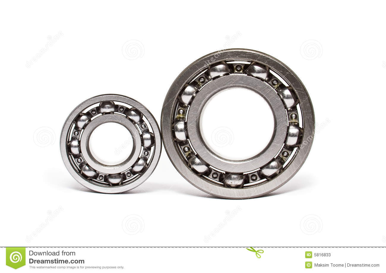 Dois rolamentos de esferas