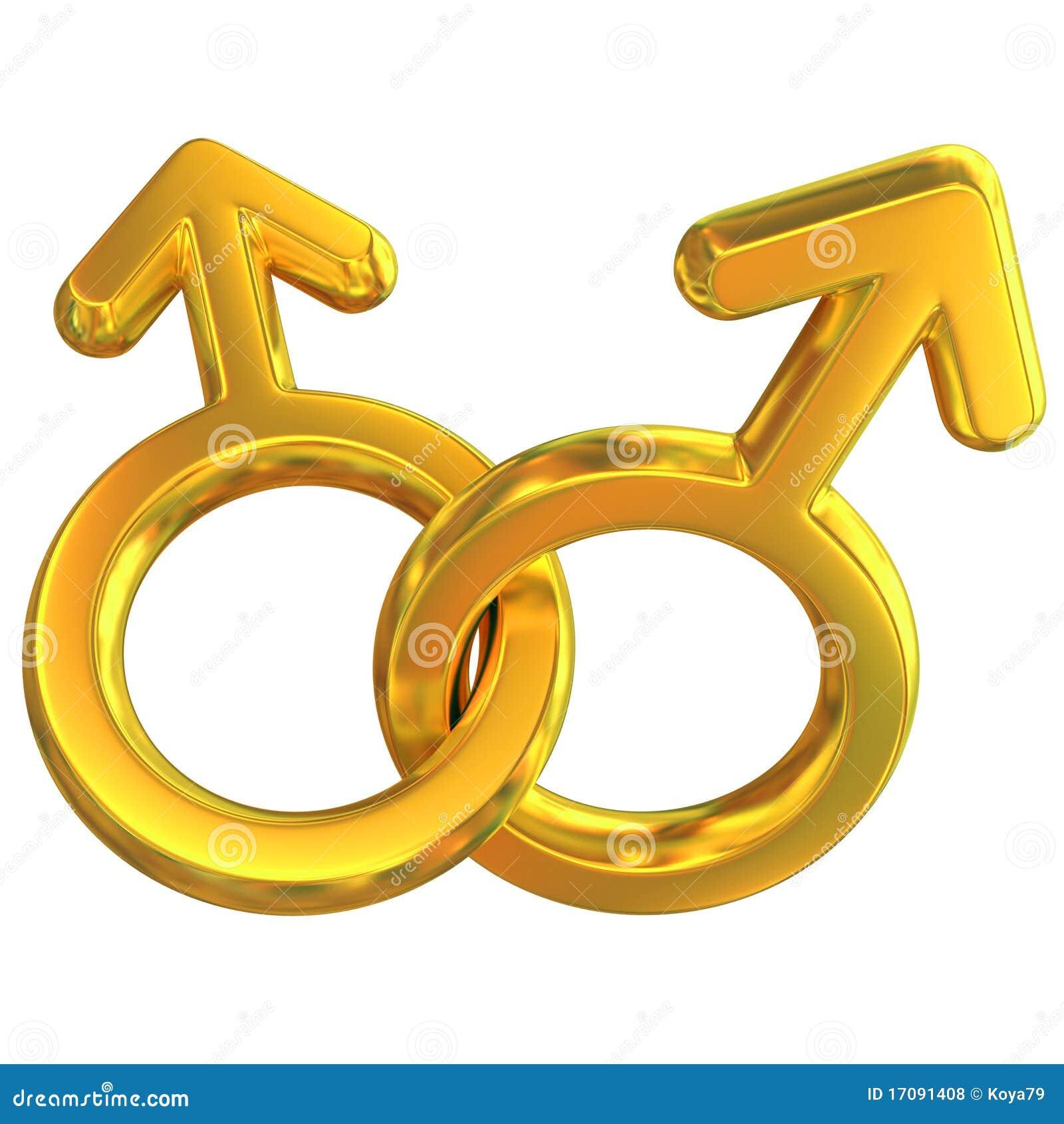 Dois símbolos masculinos cruzados representando a relação alegre
