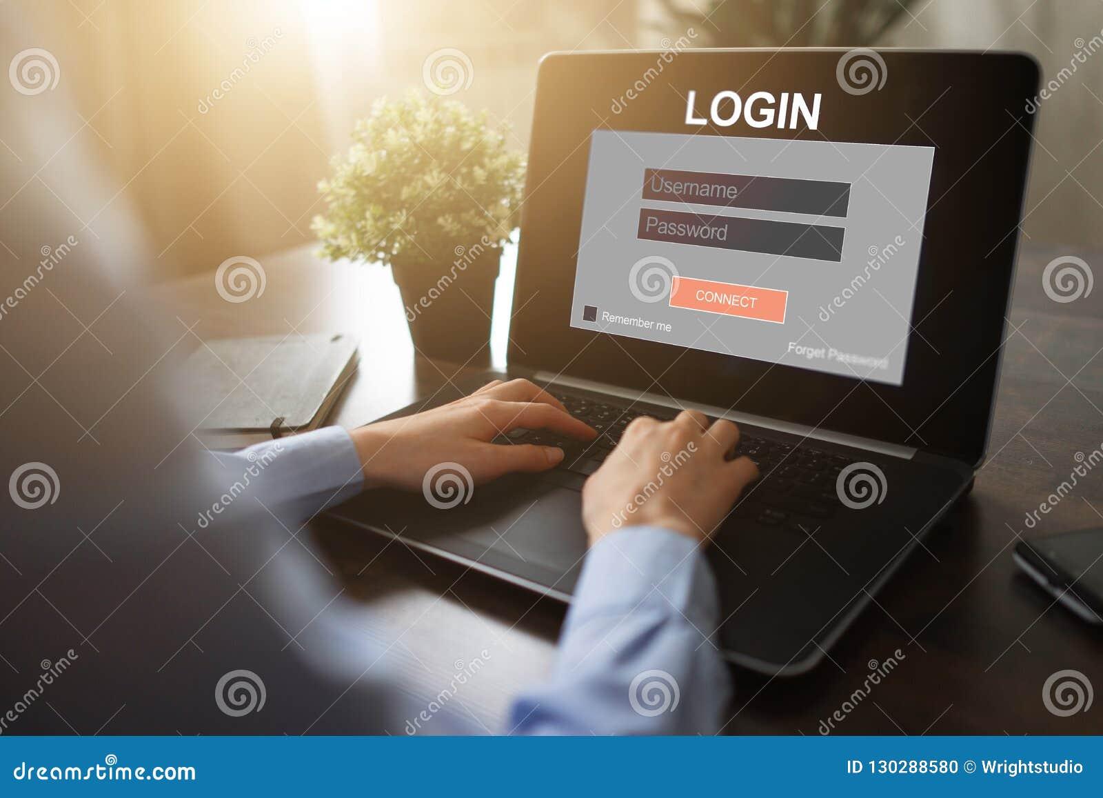 Dojazdowy okno Wchodzić do nazwę użytkownika i hasło Cyber ochrona Ewidencyjna prywatność Interneta i technologii pojęcie