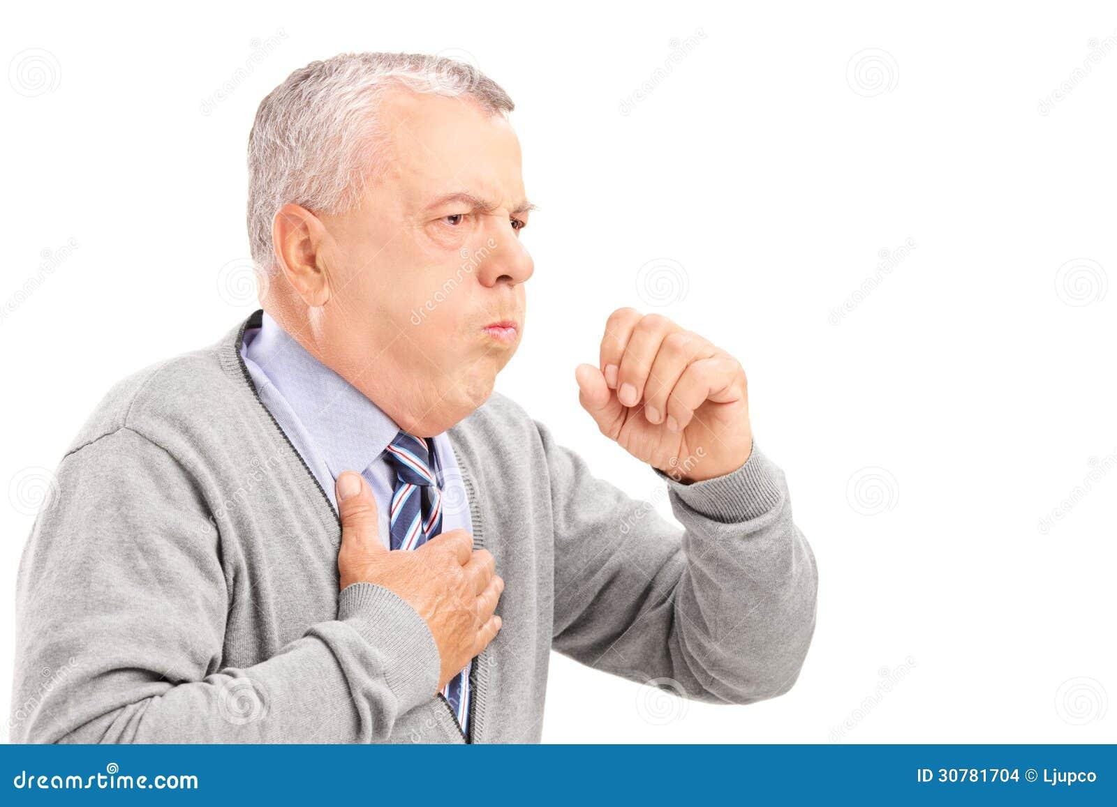 Dojrzały dżentelmen ka przez płucnej choroby