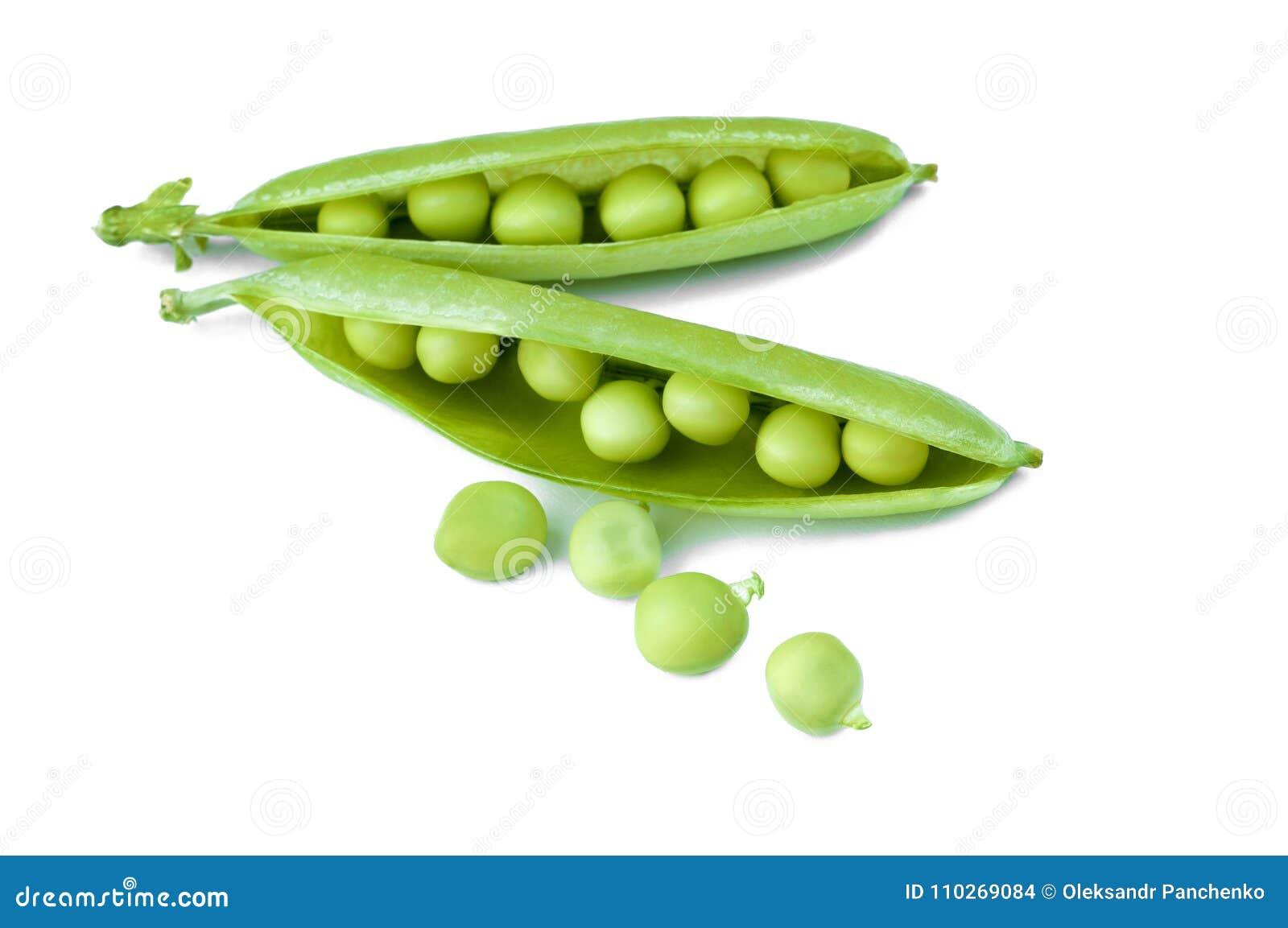 Dojrzały zielony groch odizolowywający na białym tle, zakończenie