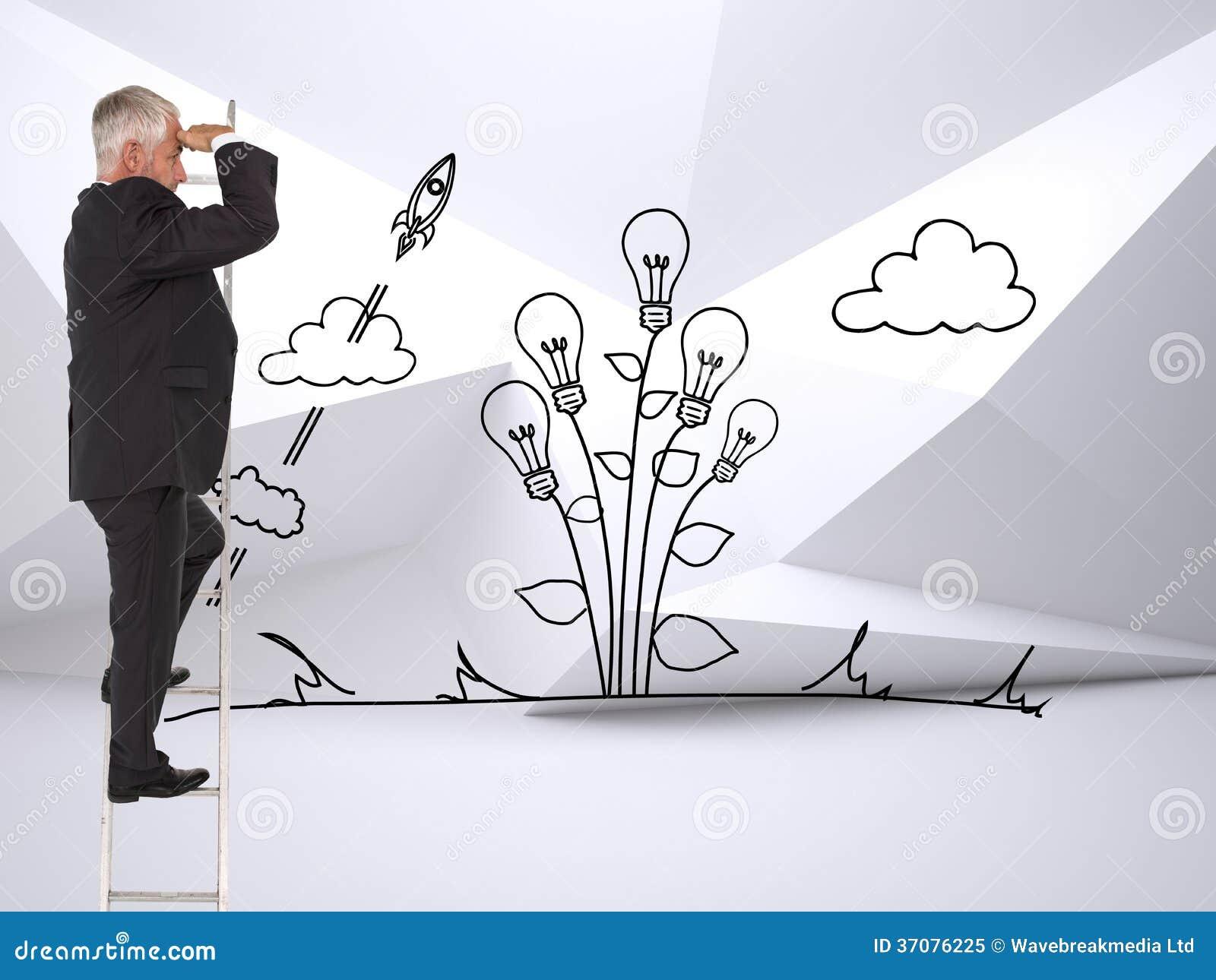 Download Dojrzała Biznesmen Pozycja Na Drabinie Obraz Stock - Obraz złożonej z graniasty, przyrost: 37076225