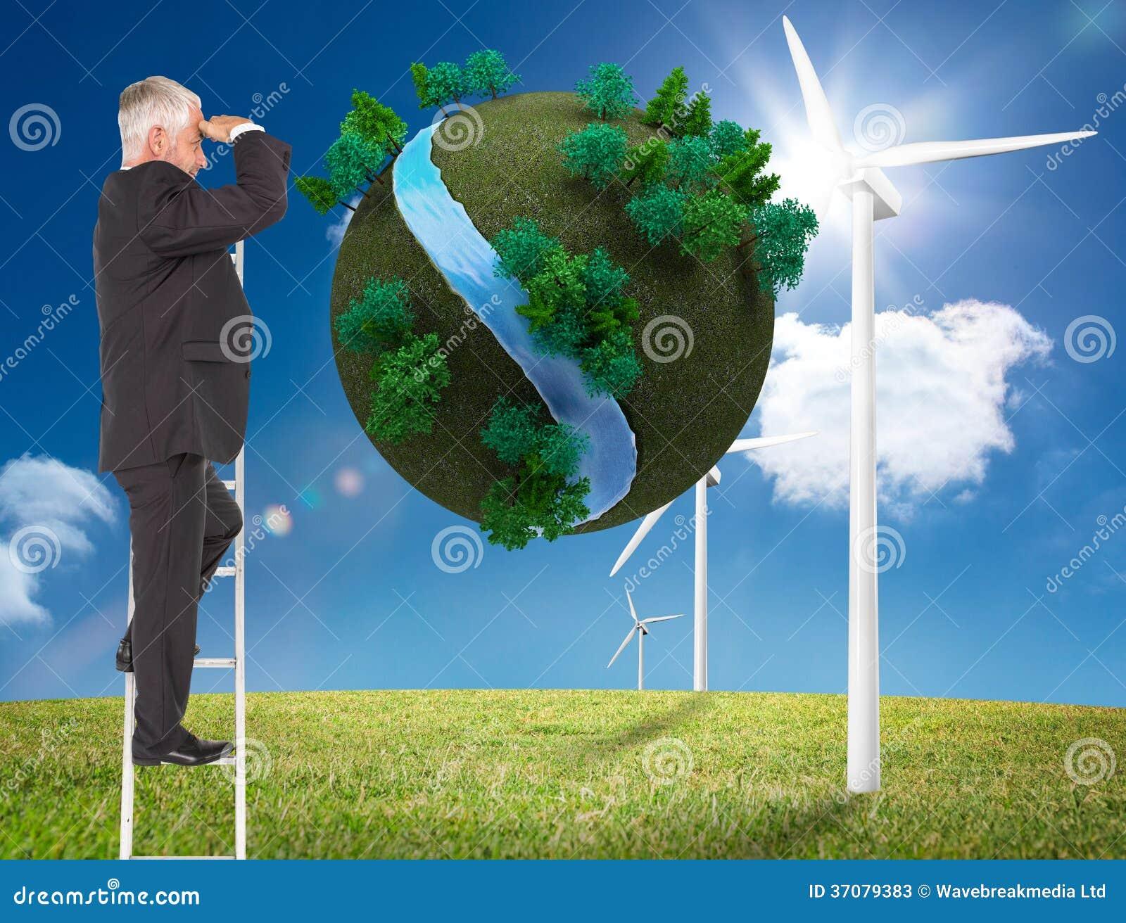 Download Dojrzała Biznesmen Pozycja Na Drabinie Obraz Stock - Obraz złożonej z krajobraz, chmura: 37079383
