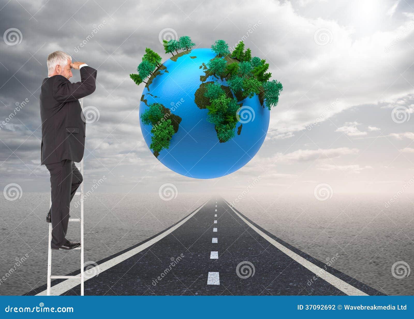 Download Dojrzała Biznesmen Pozycja Na Drabinie Zdjęcie Stock - Obraz złożonej z natura, planeta: 37092692