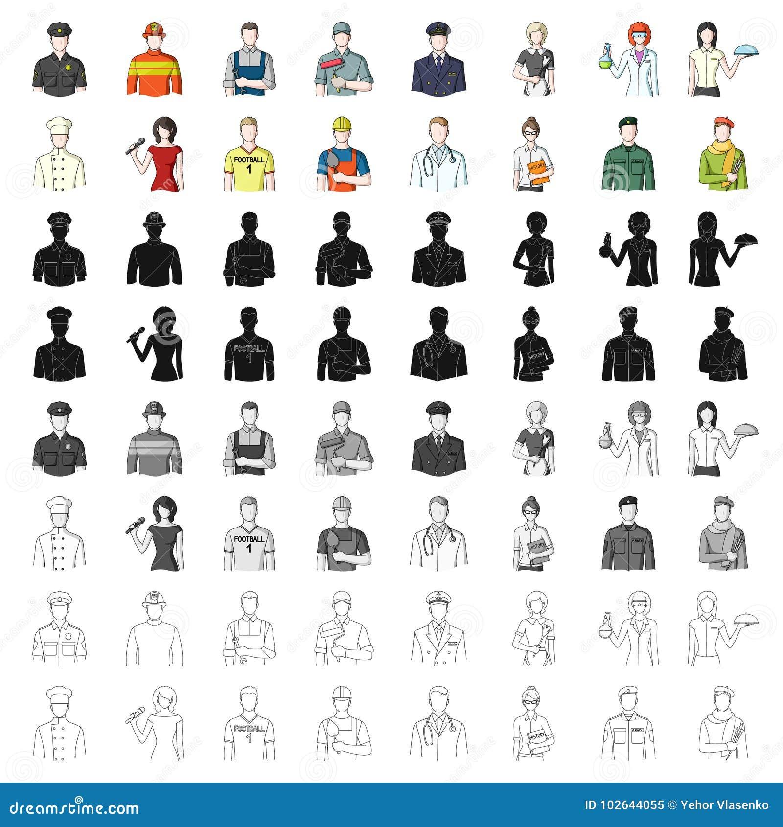 Doktor, arbetare, militär, konstnär och andra typer av yrket Utformar fastställda samlingssymboler för yrke i tecknad film vektor