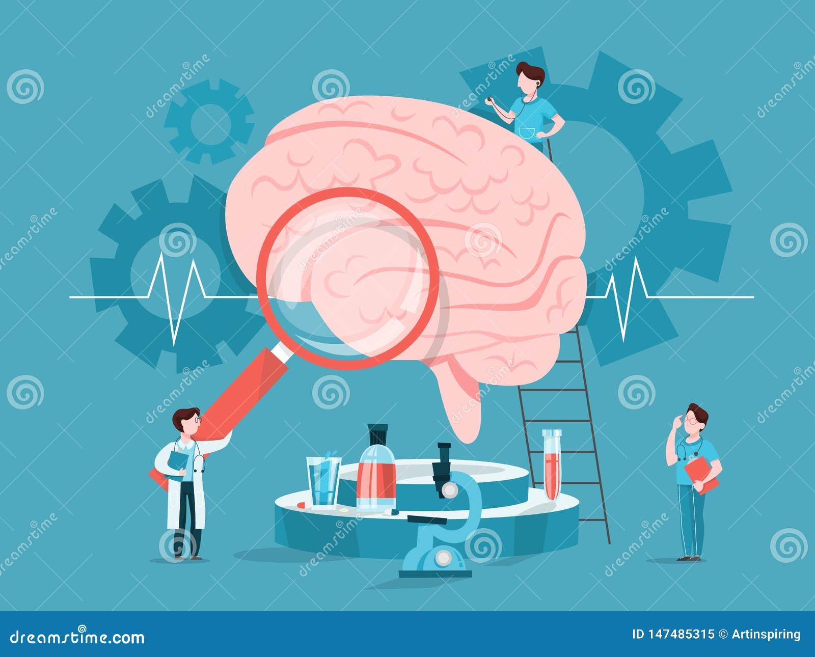 Doktor ?berpr?fen enormes Gehirn Idee der ?rztlichen Behandlung