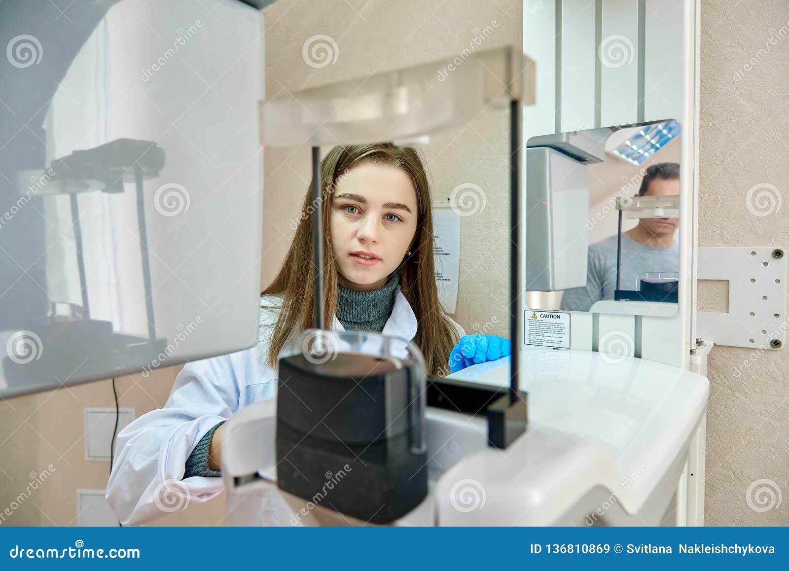 Doktor och patient, tandläkekonst, tand- tomograph
