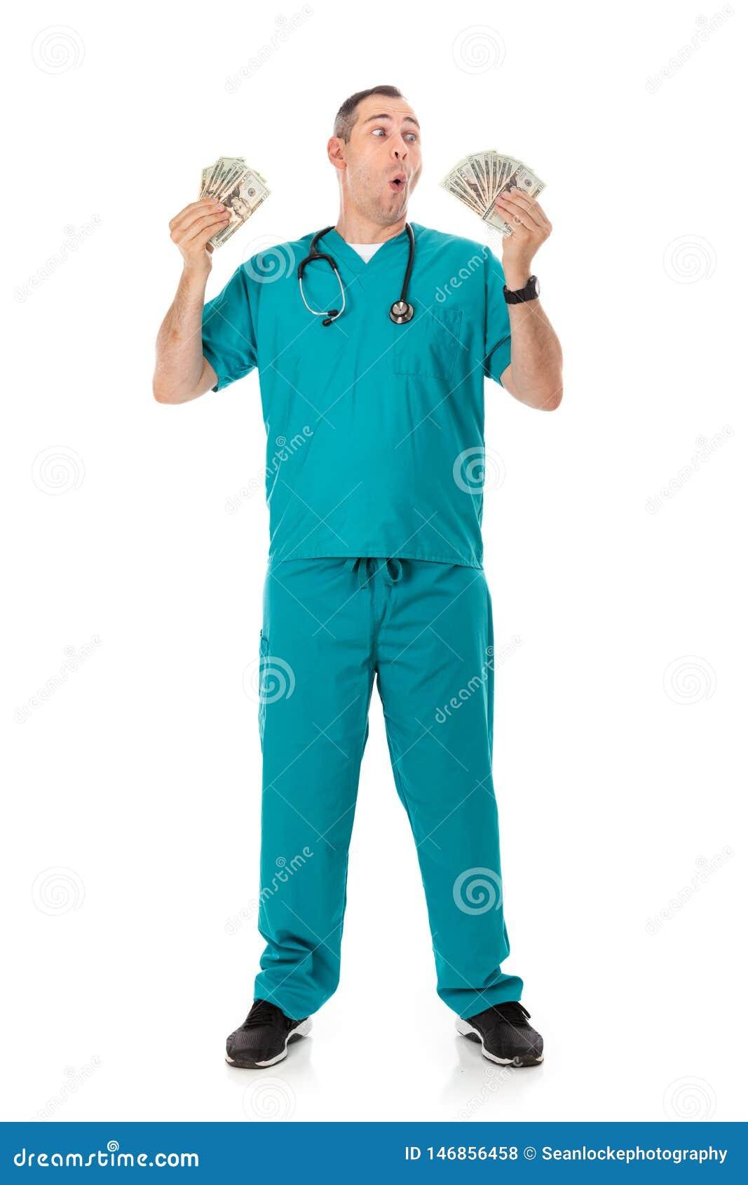 Doktor: Rich Doctor Waving Cash Money omkring