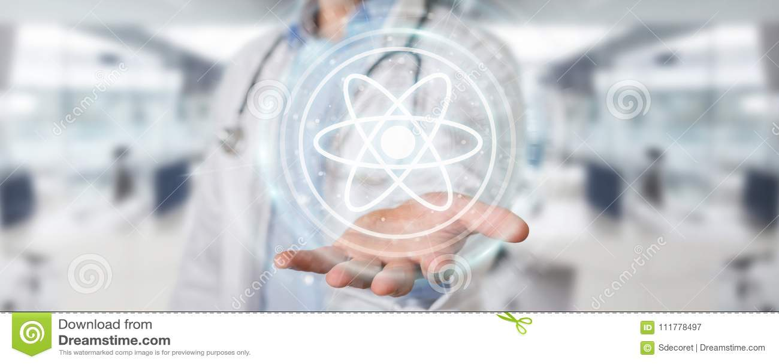 Doktor som använder den digitala tolkningen för molekylmanöverenhet 3D