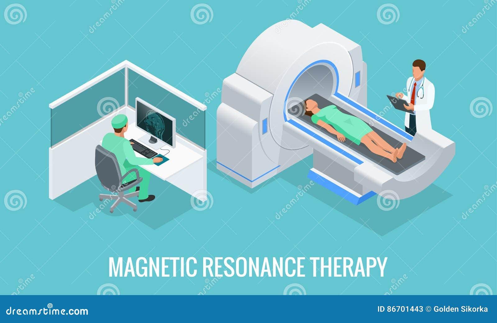 Doktor som framme ser resultat av den tålmodiga hjärnbildläsningen på bildskärmskärmarna av MRI-maskinen med mannen som ner ligge