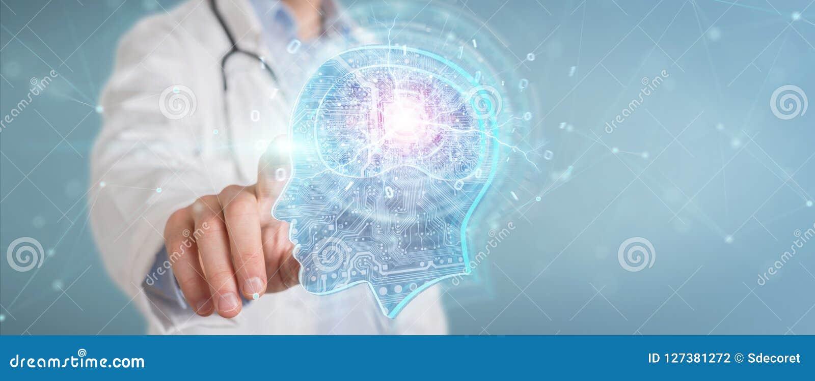 Doktor som skapar tolkningen för manöverenhet 3D för konstgjord intelligens