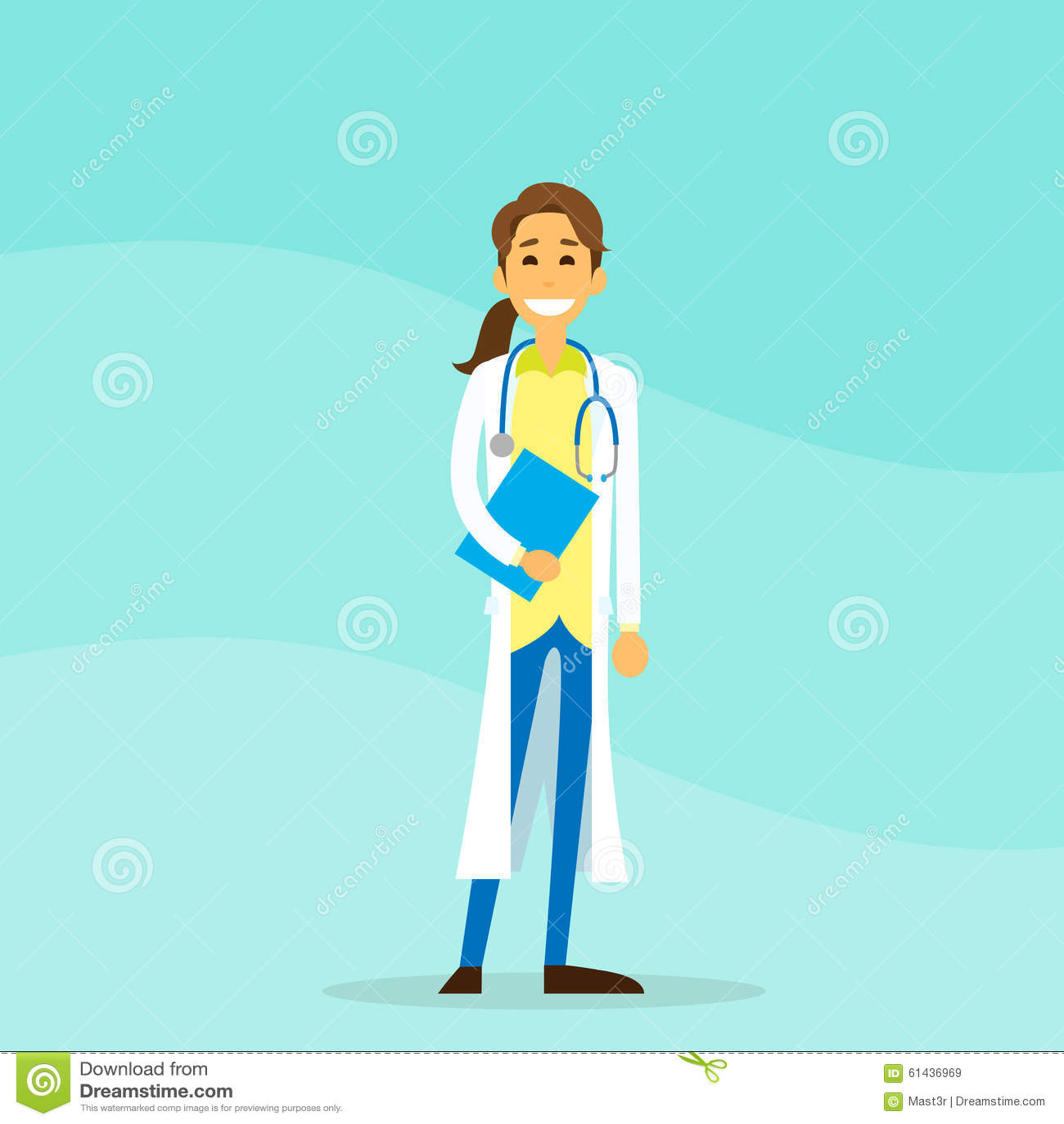 Doktor Woman Cartoon Person Hold Clipboard