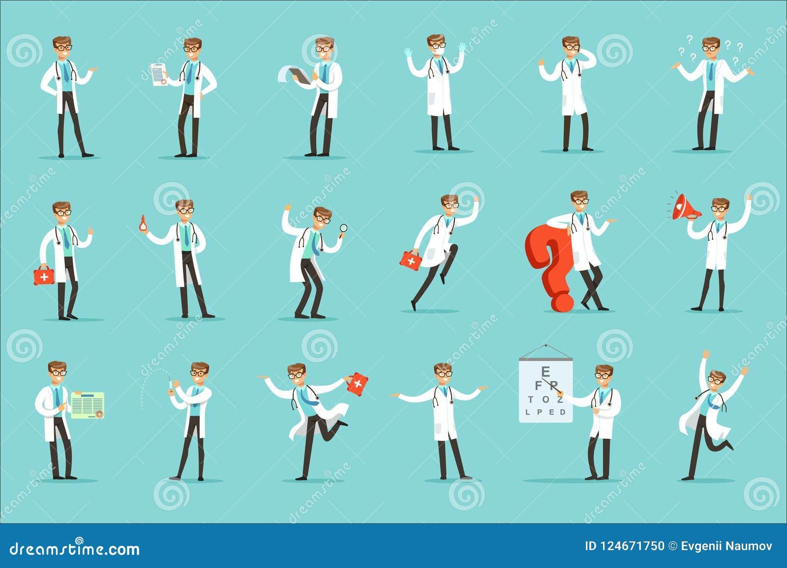 Doktor Work Process Set av släkta platser för sjukhus med det unga tecknad filmteckenet för medicinsk arbetare