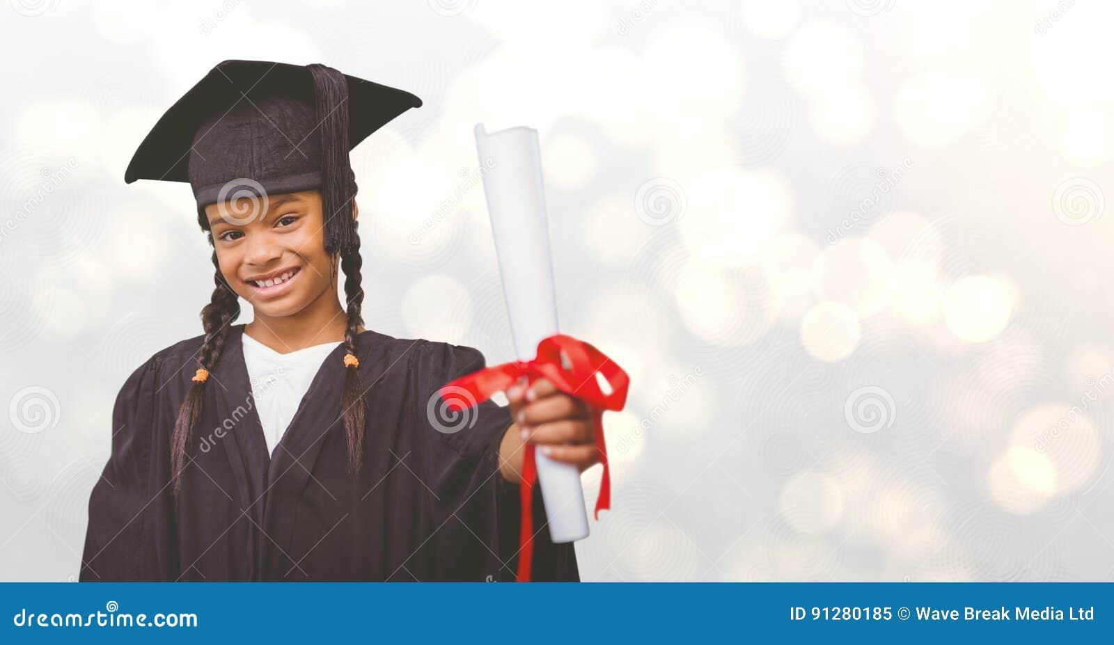 Doktorand- flickavisningcertifikat över bokeh