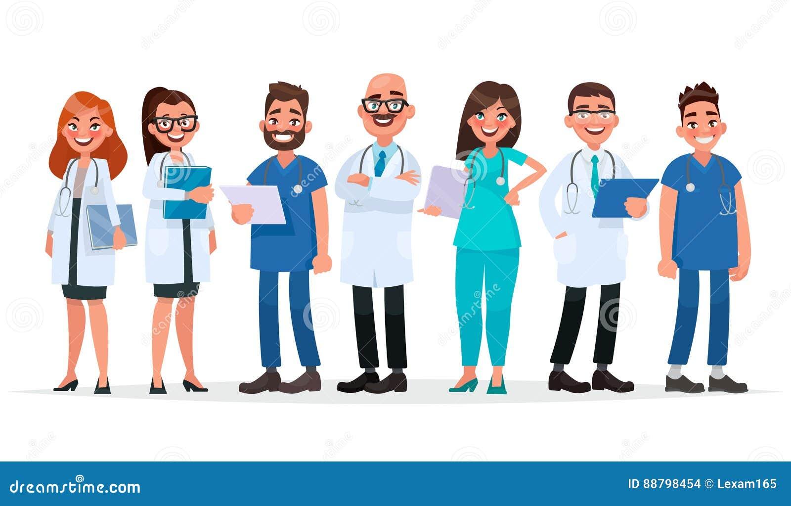 Doktorer Lag av medicinska arbetare på en vit bakgrund Sjukhus