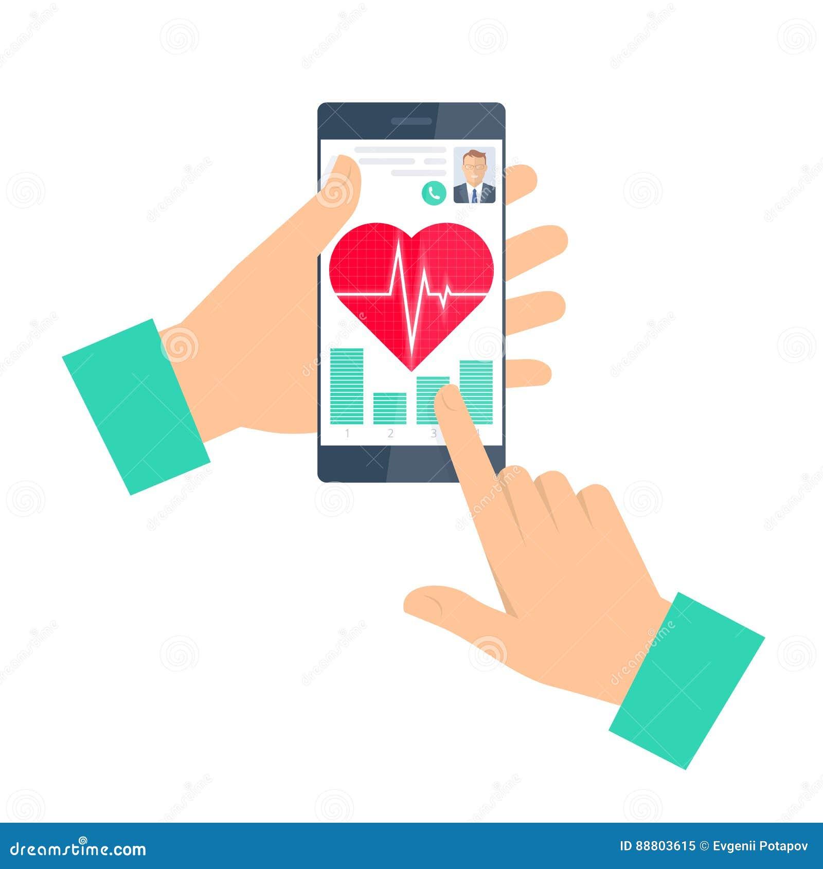 Doktorn råder en patient på telefonen Telemedicine och teleheal