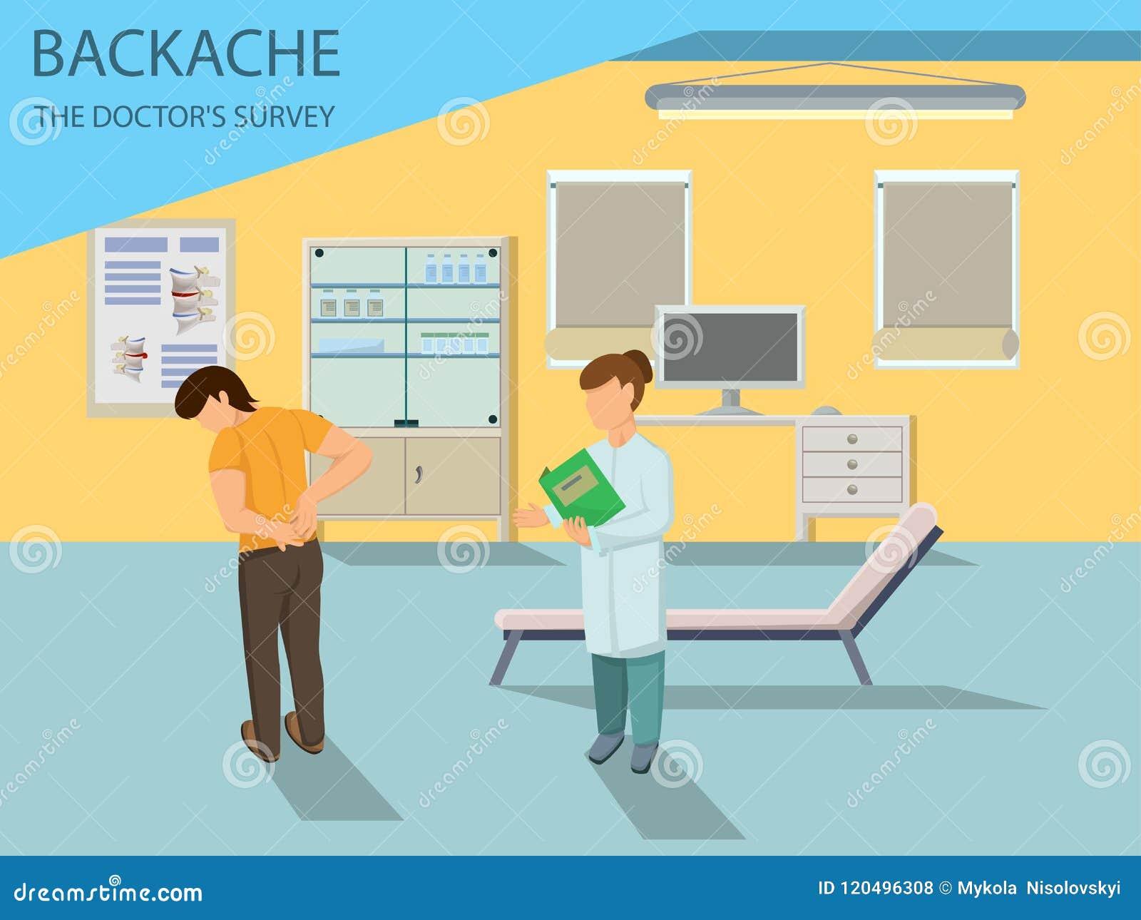 Doktorn undersöker patienten med tillbaka smärtar vektor