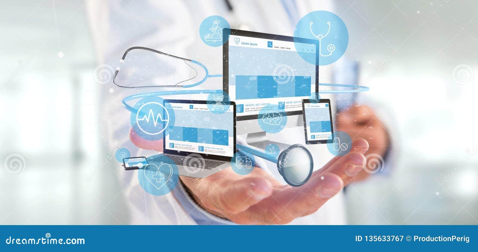 Doktorscy mienie przyrząda z medycznym ikony i stetoskopu 3d renderingiem