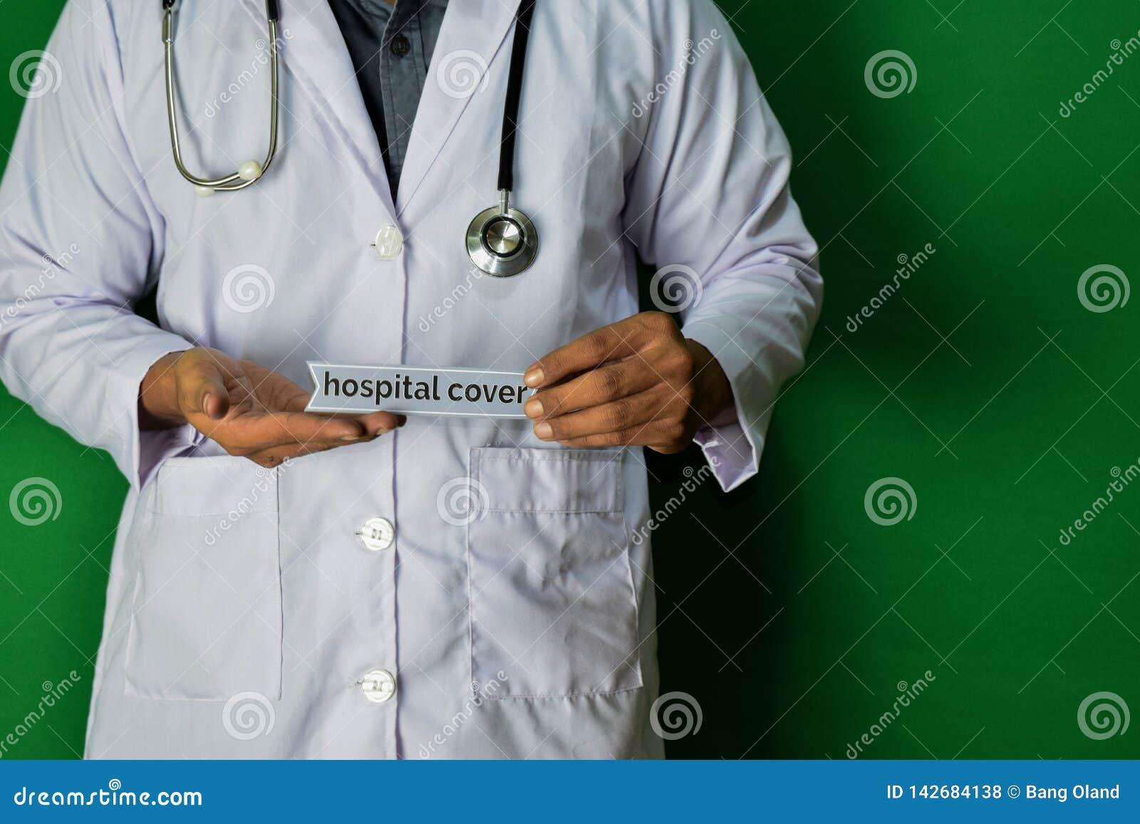 Doktorska pozycja, Trzyma Szpitalnego Okładkowego papieru tekst na Zielonym tle Medyczny i opieka zdrowotna pojęcie