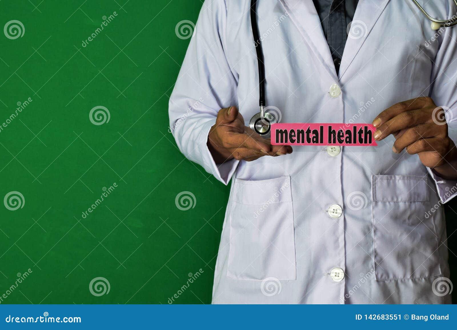 Doktorska pozycja, Trzyma zdrowie psychiczne papieru tekst na Zielonym tle Medyczny i opieka zdrowotna pojęcie