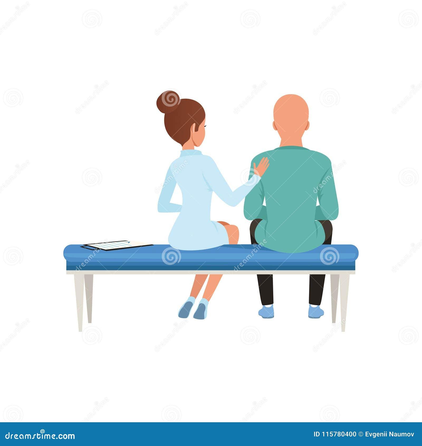 Doktorski radzi pacjent, łysy mężczyzna z nowotworem po chemoterapii, onkologii terapia, traktowanie wektorowa ilustracja na a