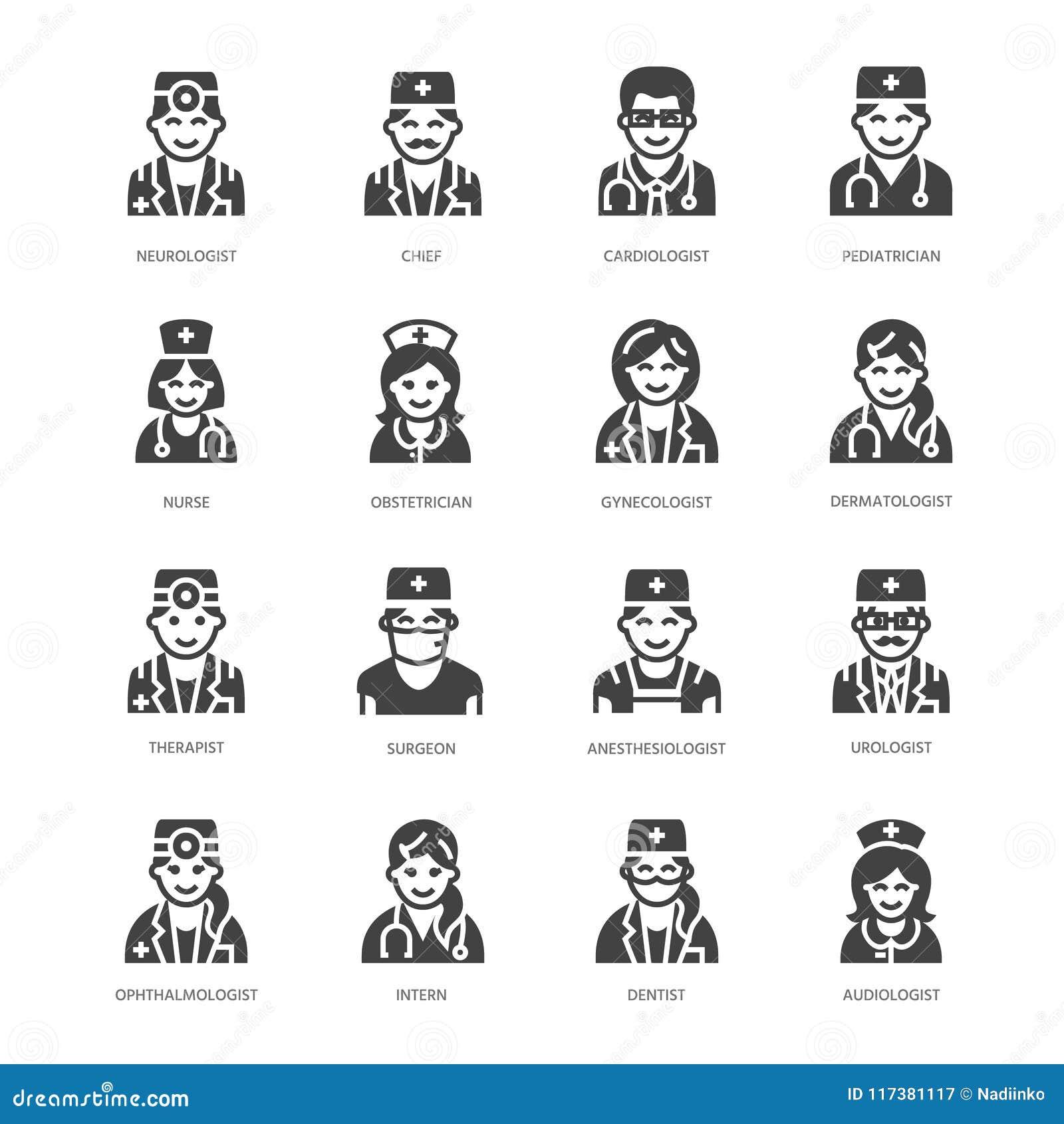 Doktorsyrken sänker skårasymboler Medicinska ockupationer - kirurg, kardiolog, tandläkareterapeut, läkare, sjuksköterska