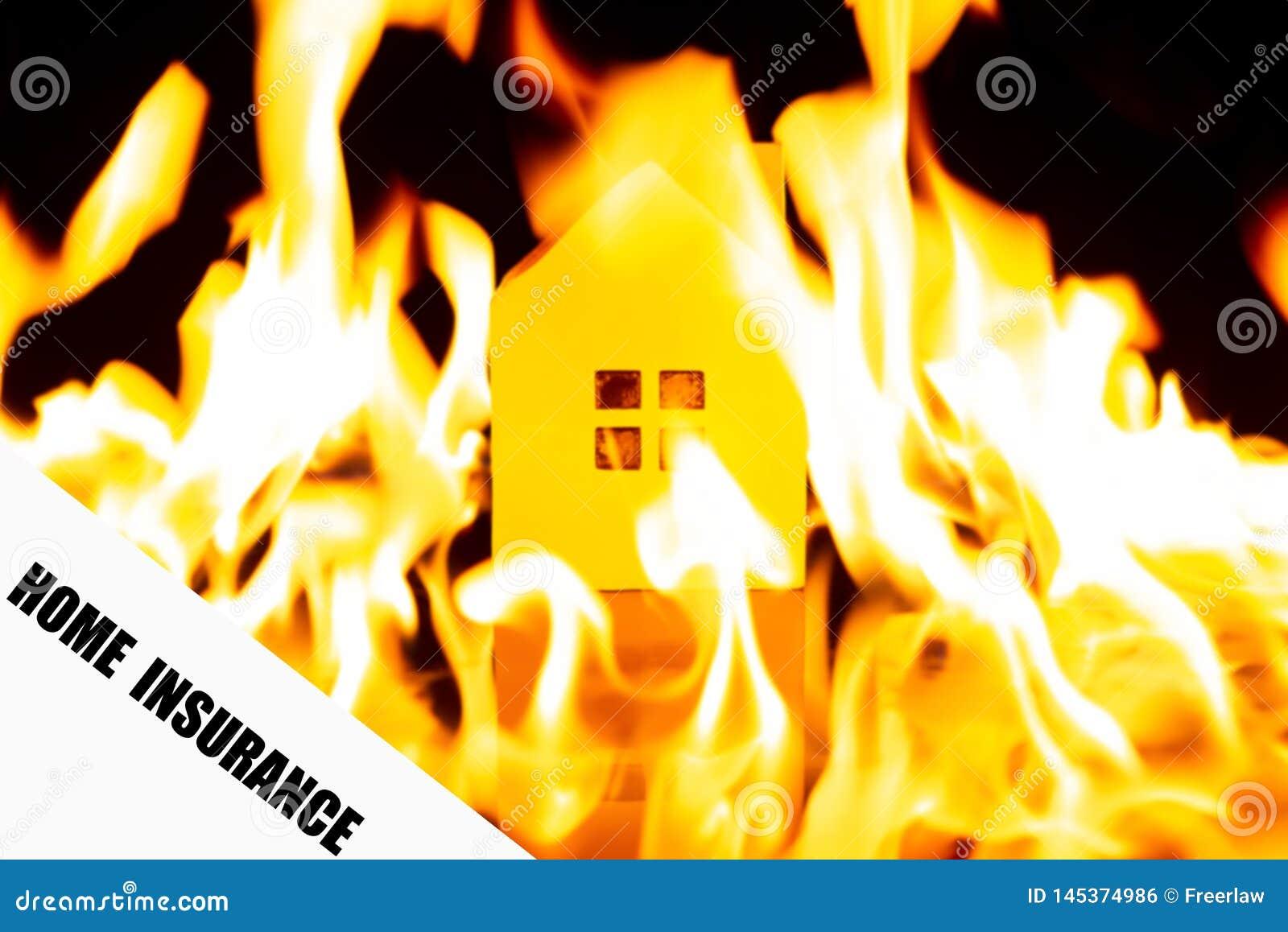 Dokument av HEM- FÖRSÄKRING med det brinnande huset på tillbaka removeable formuleringar med urklippbanan