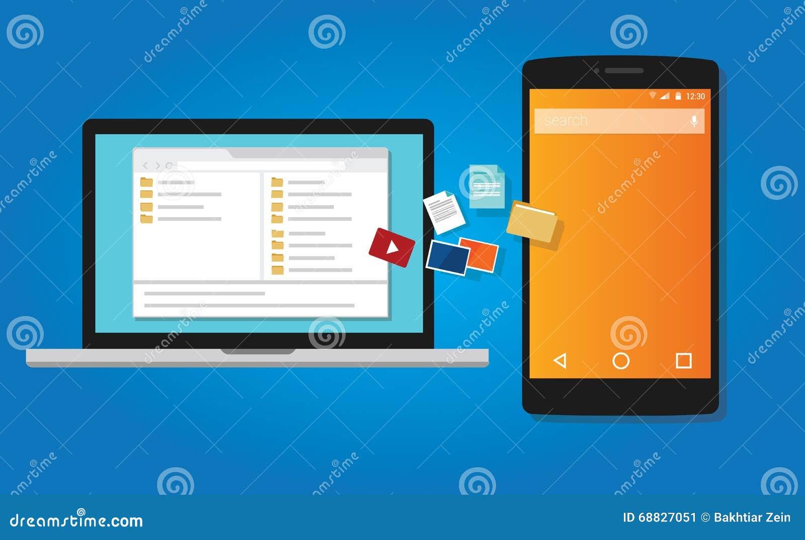 Dokument för kopia för mappöverföring till mobiltelefonen från illustration för datorsymbolssymbol