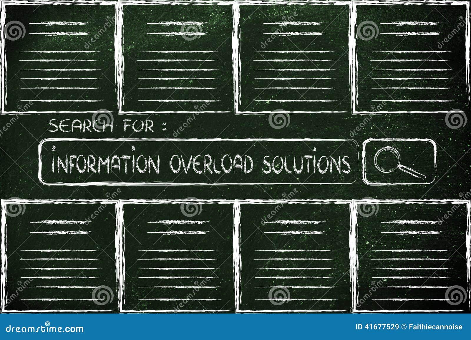 Dokument och sökandestång som söker efter solut för informationsöverbelastning
