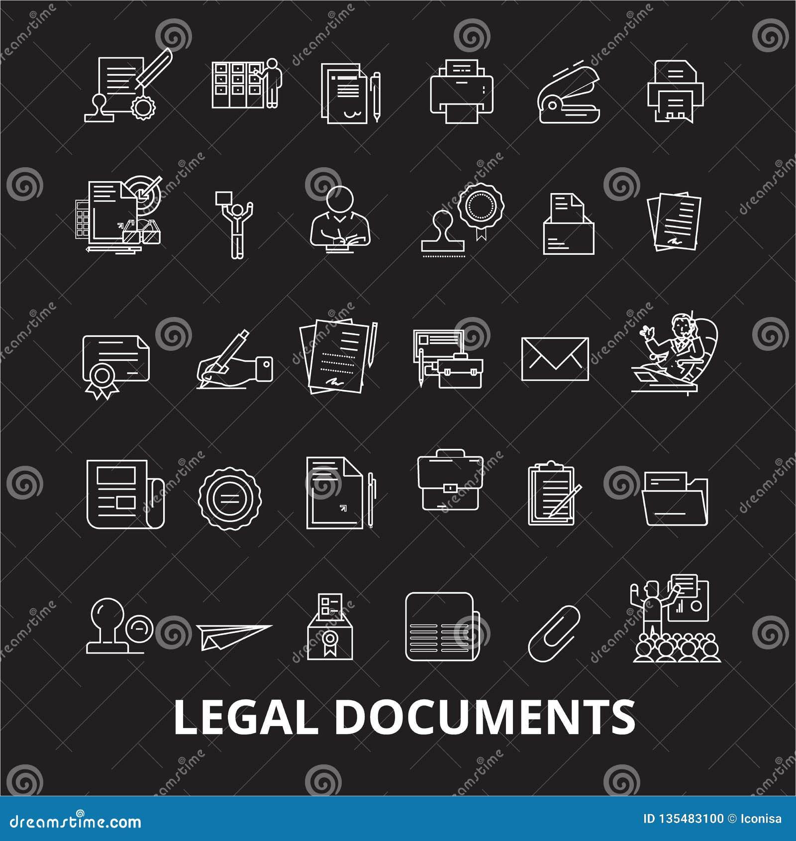 Dokument prawny ikon editable kreskowy wektorowy ustawiający na czarnym tle Dokumentu prawnego konturu białe ilustracje, znaki
