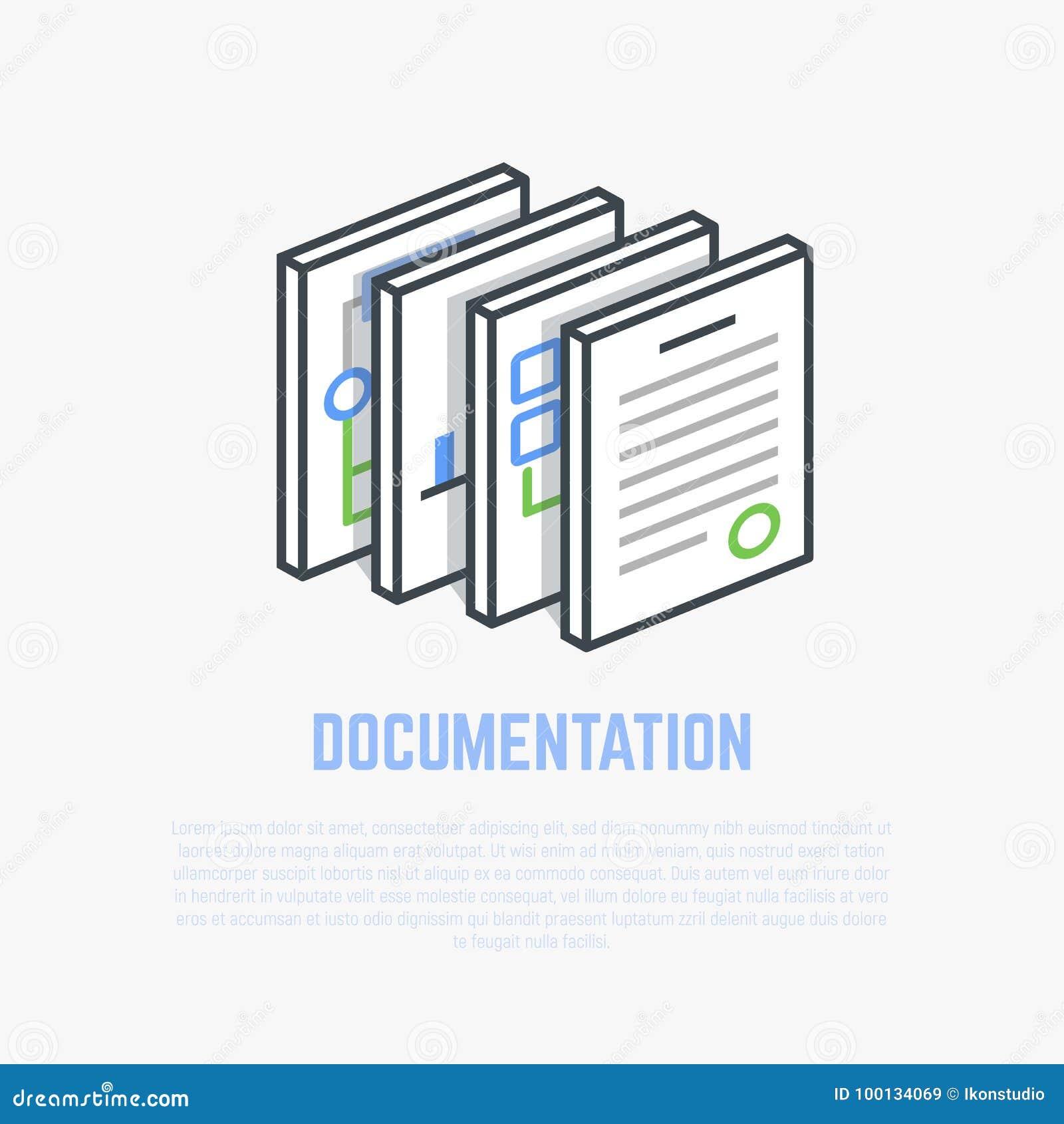 Dokumentaci isometric ilustracja
