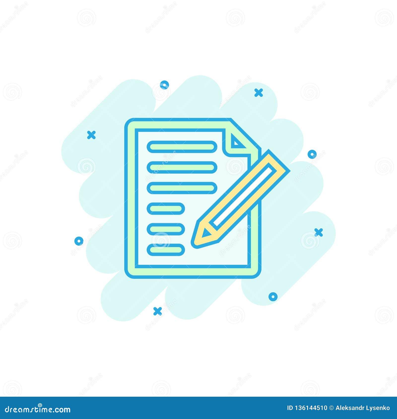 Dokumentanmärkningssymbol i komisk stil Pappers- pictogram för illustration för arkvektortecknad film Färgstänk för Notepaddokume