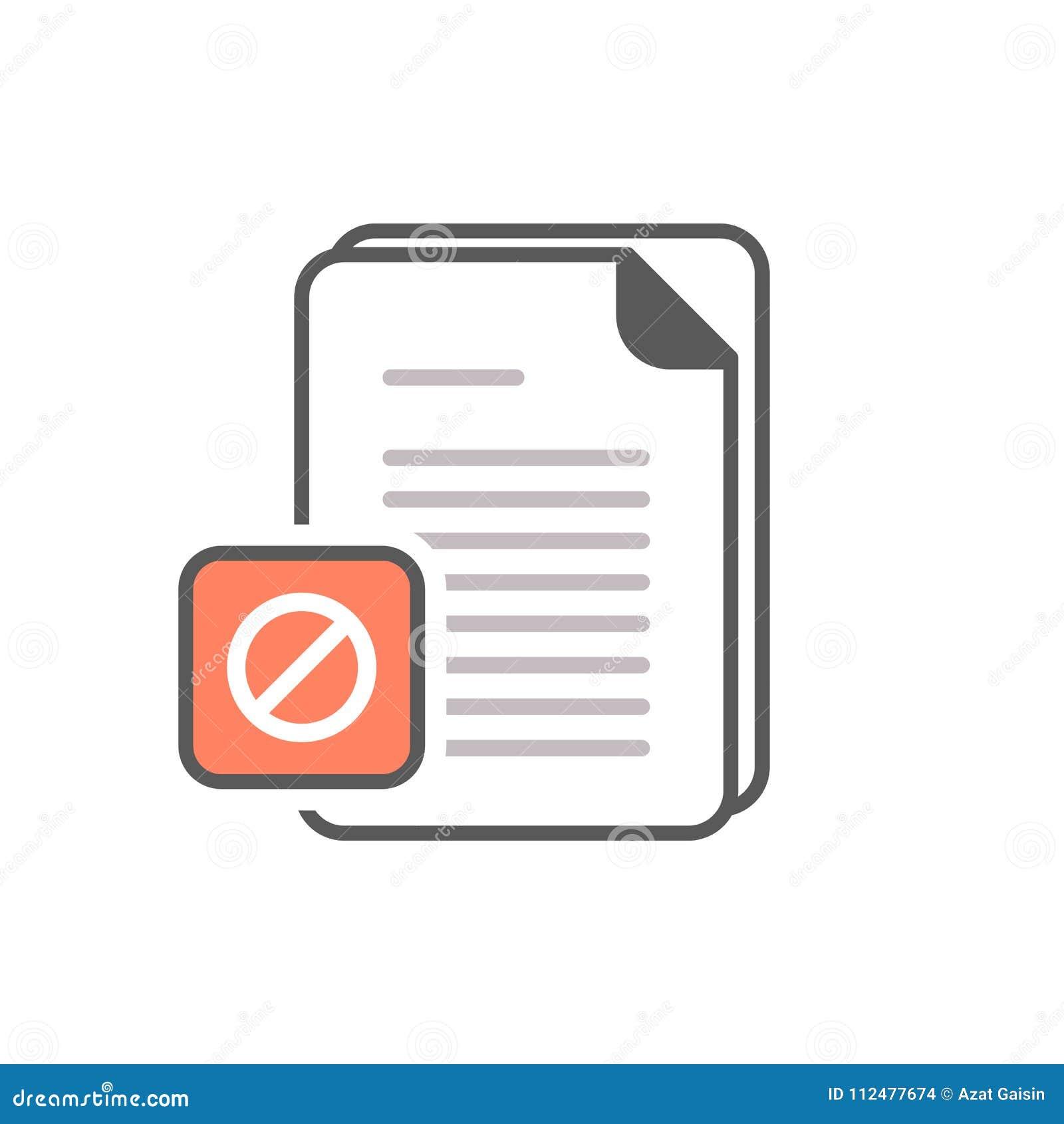 Dokumentenikone mit nicht erlaubtem Zeichen Die Dokumentenikone und -block, verboten, verbieten Symbol