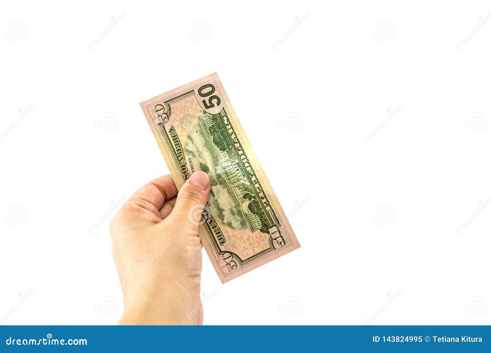 50 dolarów w ręce na białym tle