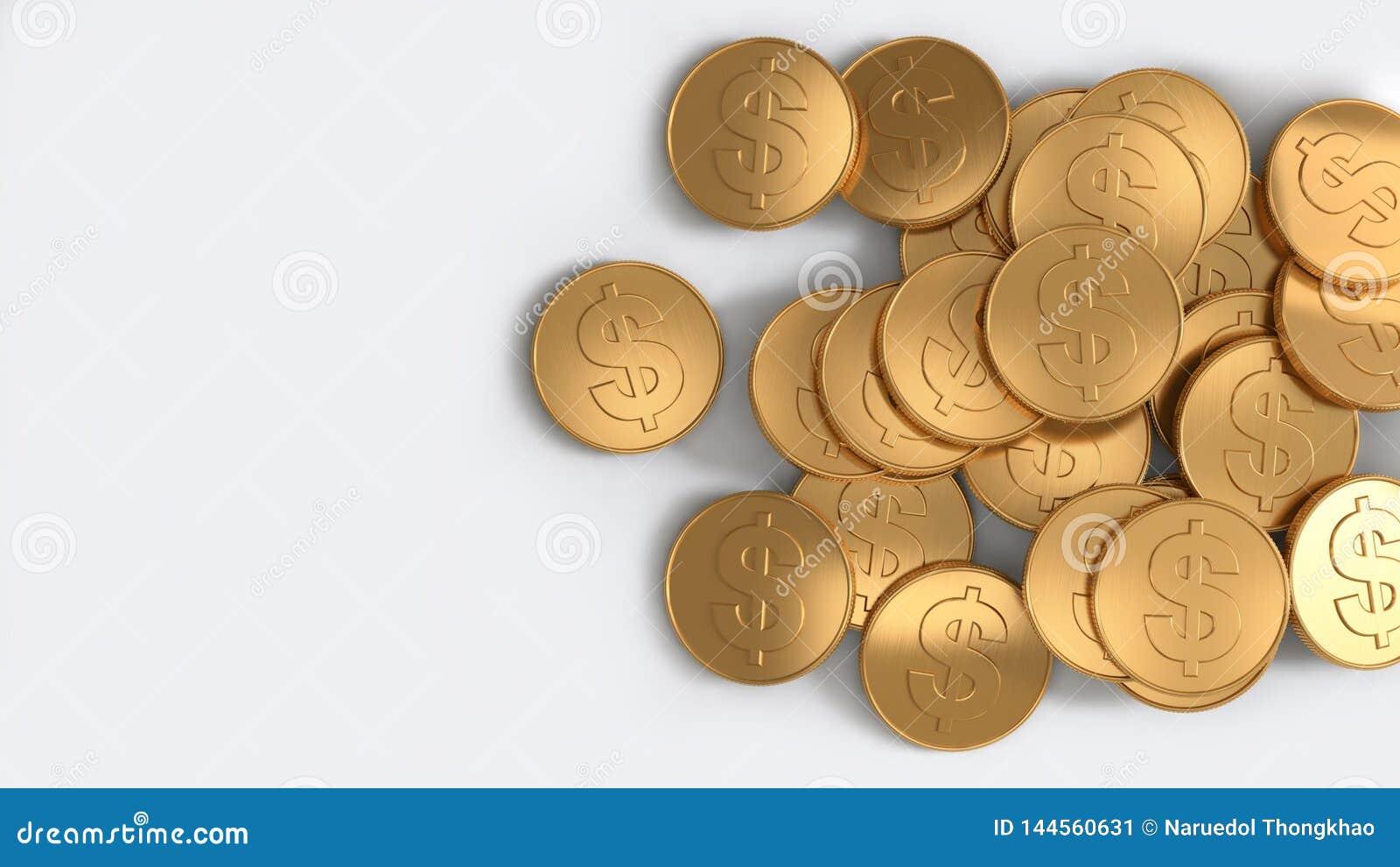 Dolar amerykański monet odgórnego widoku palowy złocisty biały tło 3d odpłaca się