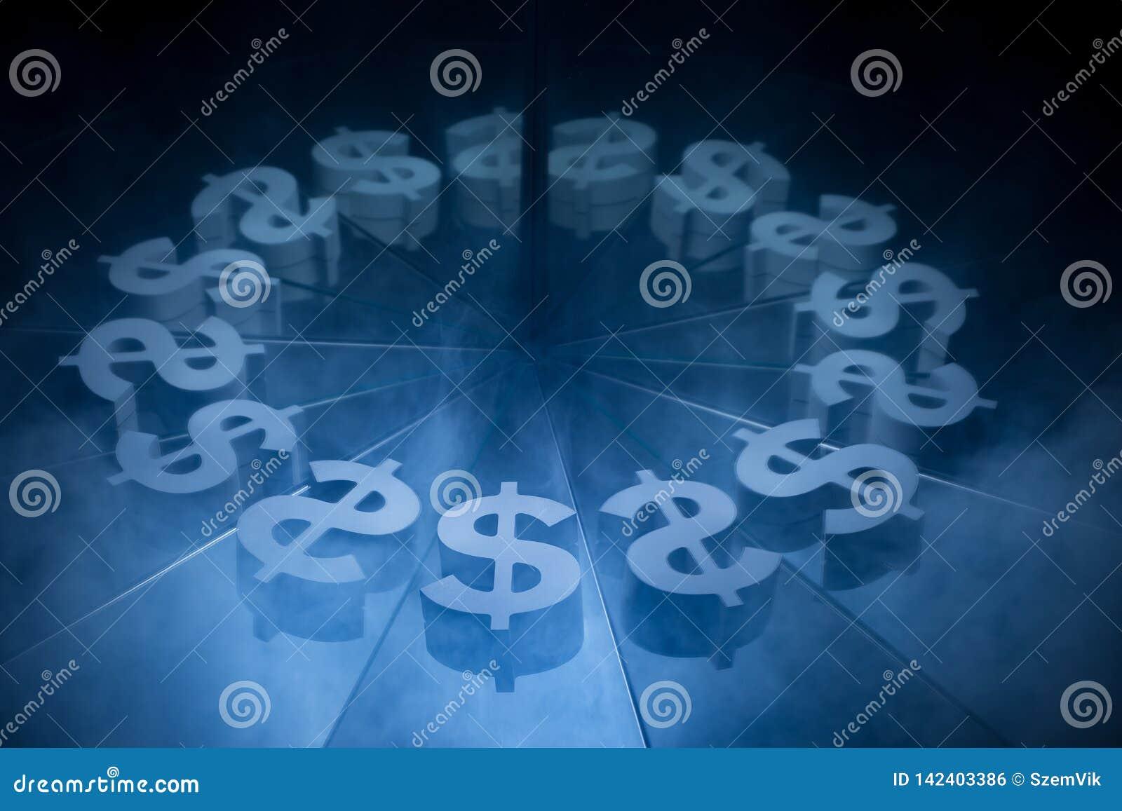 Dolar amerykański waluty symbol Zakrywający w Ciemnej zimy mgle