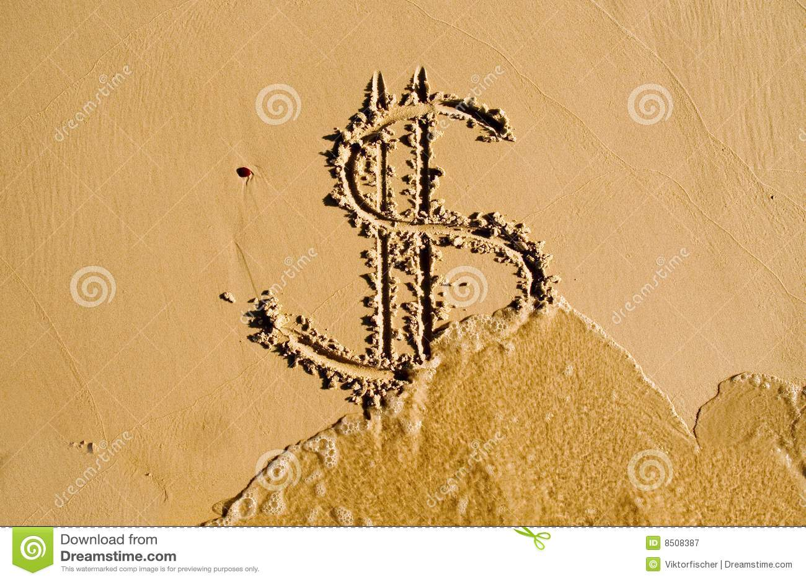 Dolar rysujący piaska znak