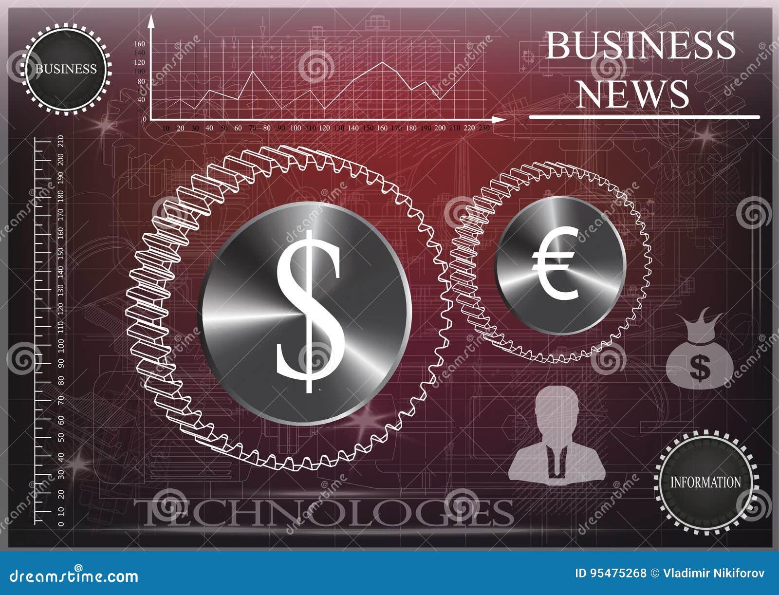 Dolarowa i euro ikona na czarnym tle, biznes, statystyki
