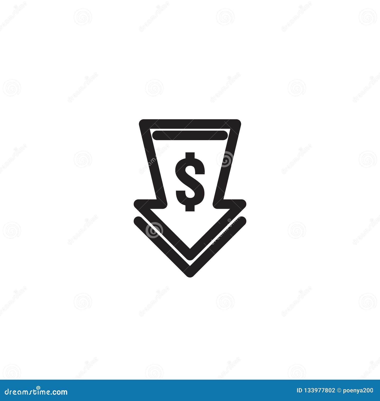 Dolarowa strzałkowata zmniejszanie ikona Pieniądze strzała symbol gospodarki rozciągania wydźwignięcia kropla spada puszek Biznes