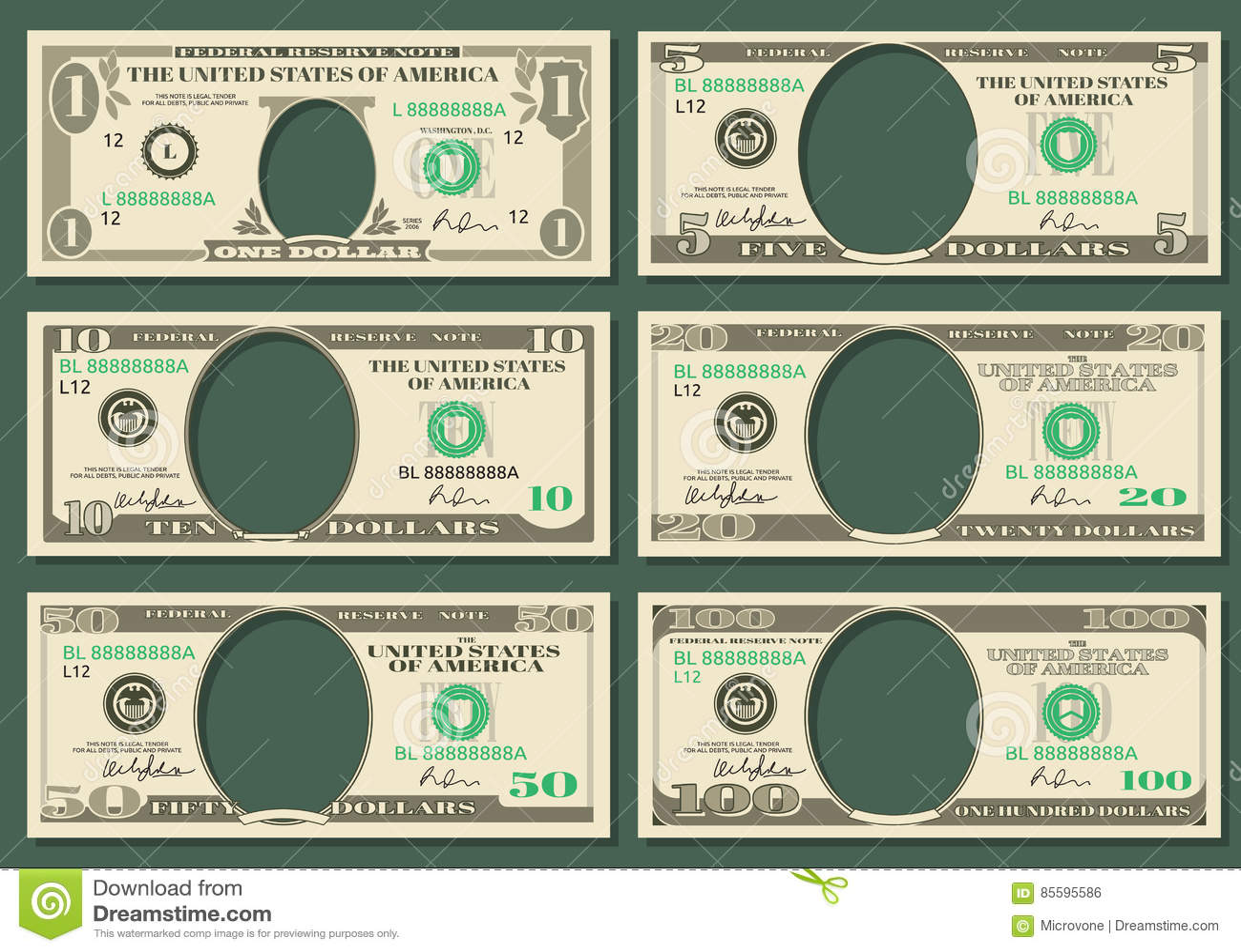 Dolarowa waluta zauważa wektorowych pieniędzy szablony