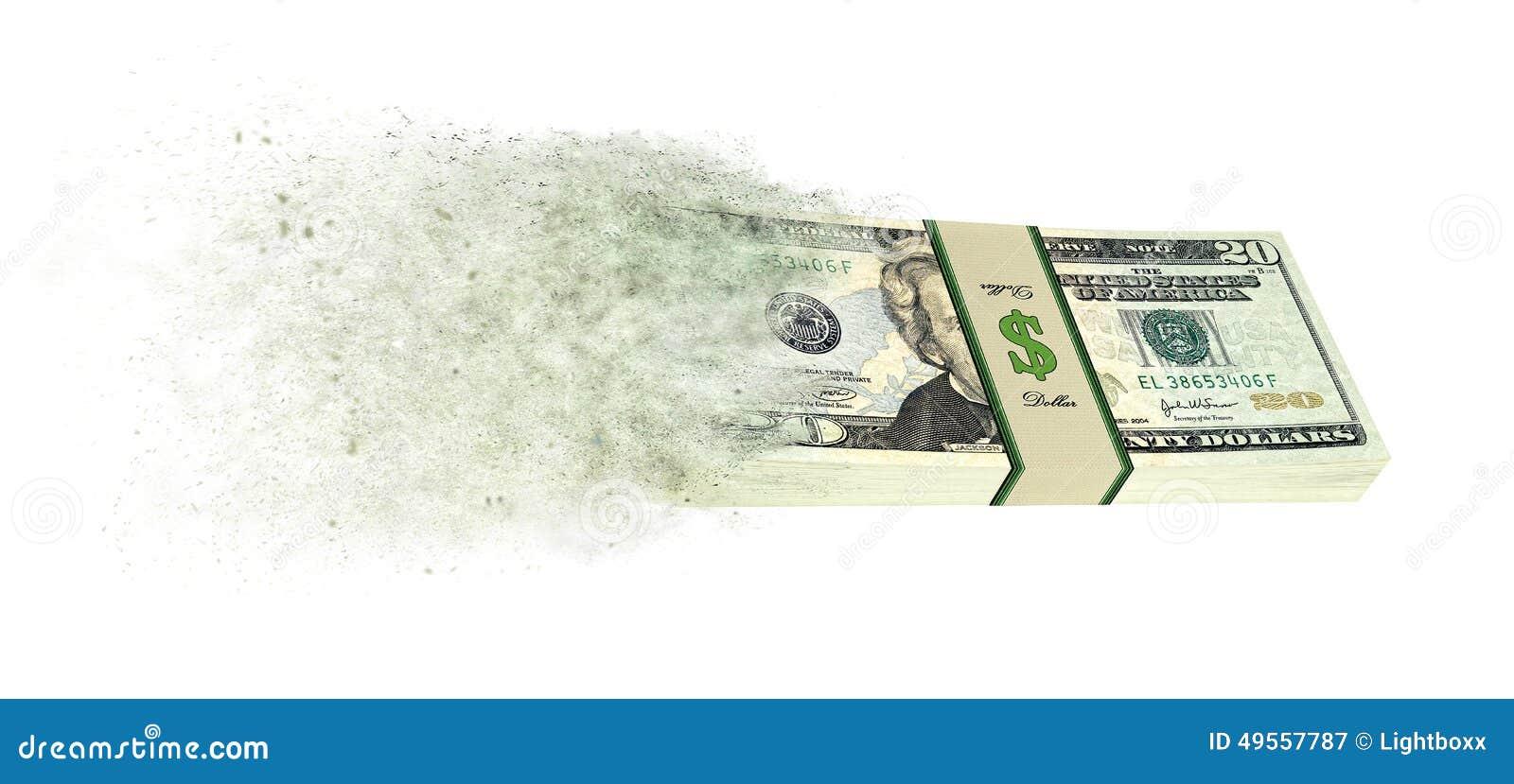 Dolarowi banknoty iść up w dymu