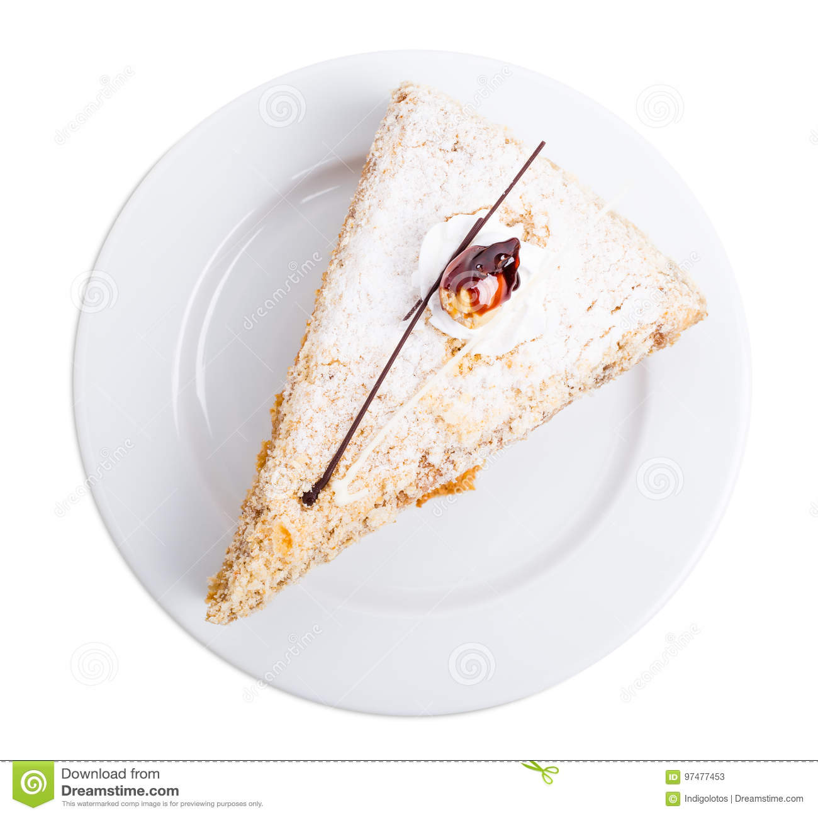Dolce delizioso con zucchero croccante e crema