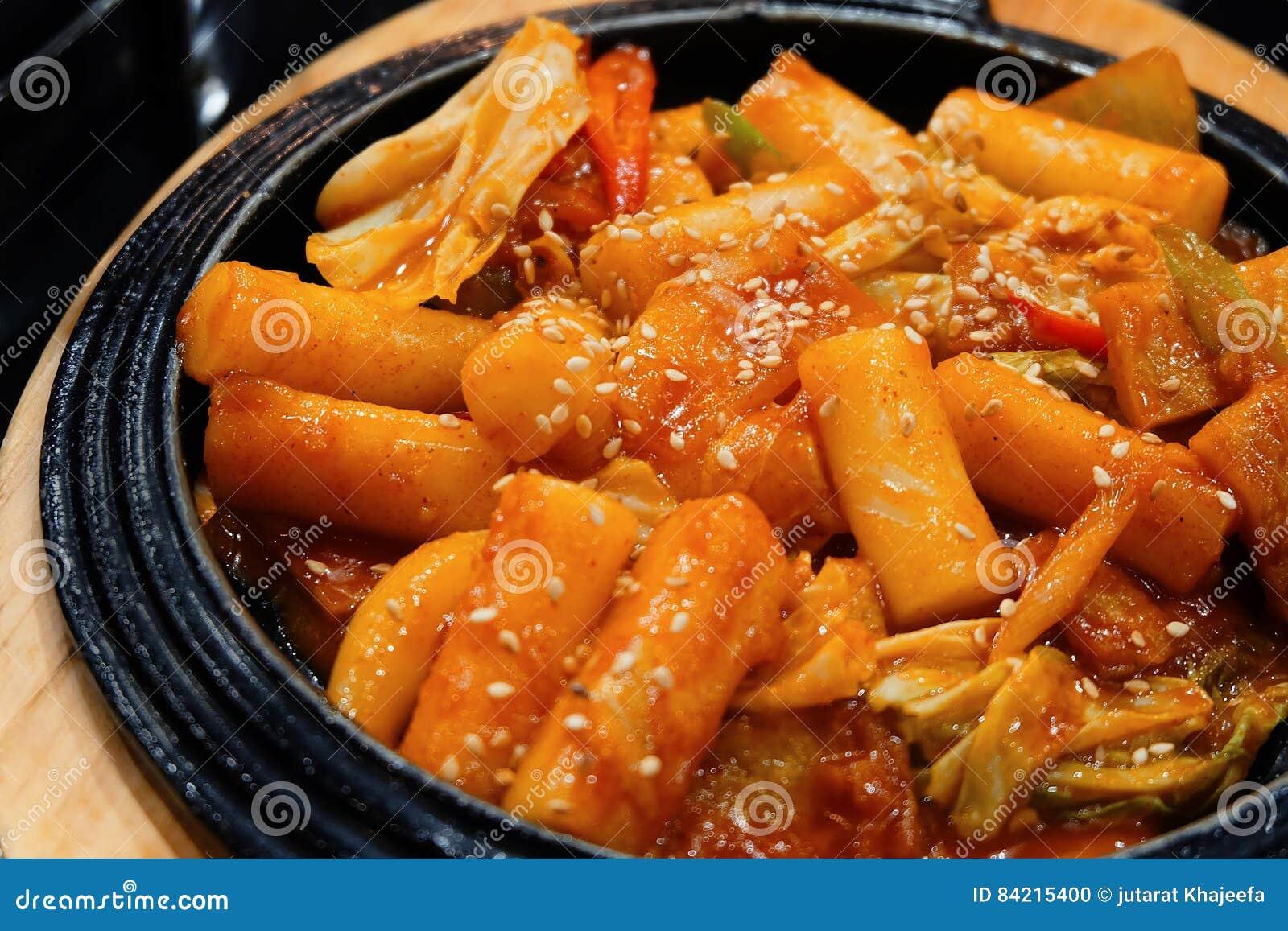 Dolce di riso caldo di Tukbokki e piccante coreano