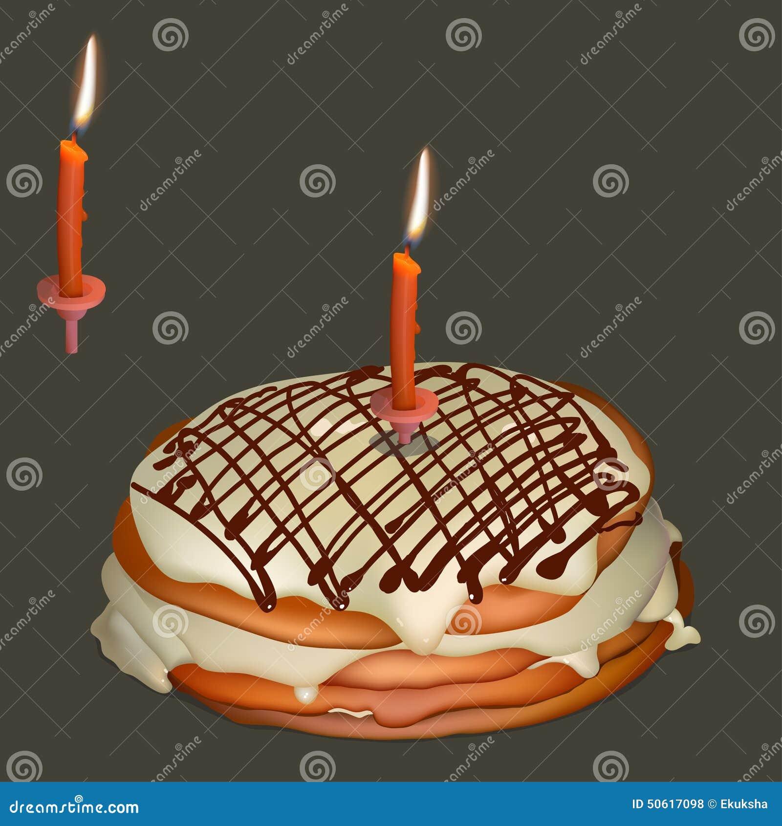 Dolce dolce con la crema del burro e la candela bruciante